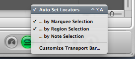 Logic Pro Transport Bar Cycle Auto Set Locators