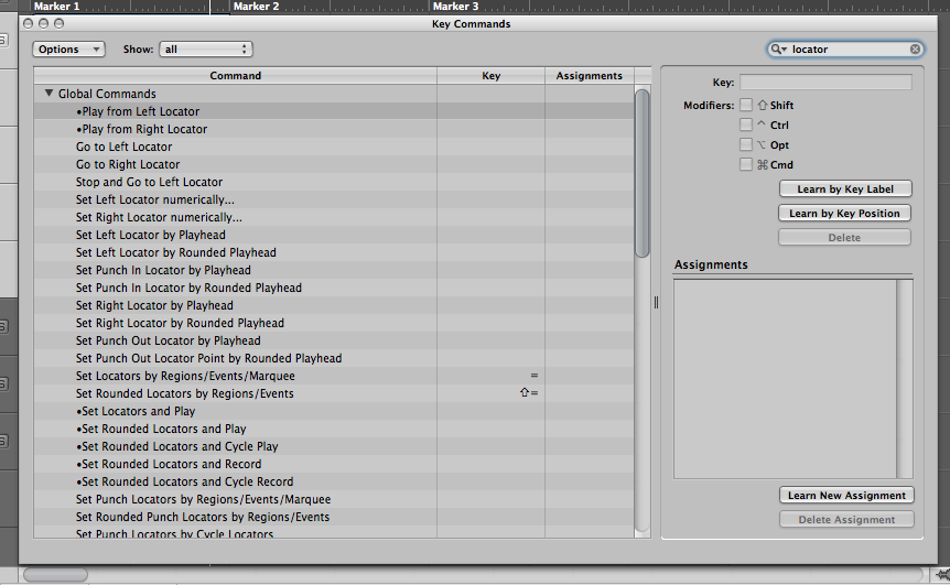 Logic Pro Locator Key Commands
