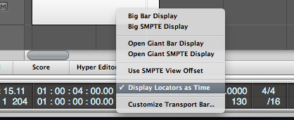 Logic Pro Transport Bar Display Locators as Time