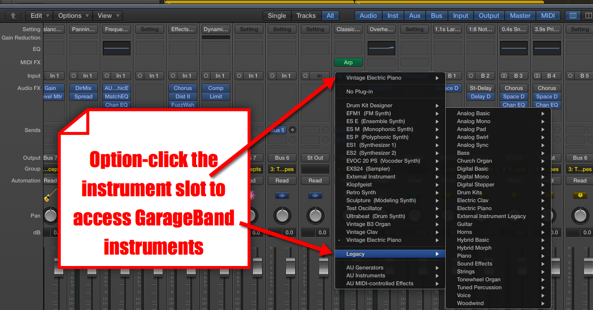 GarageBand Instruments in Logic Pro X