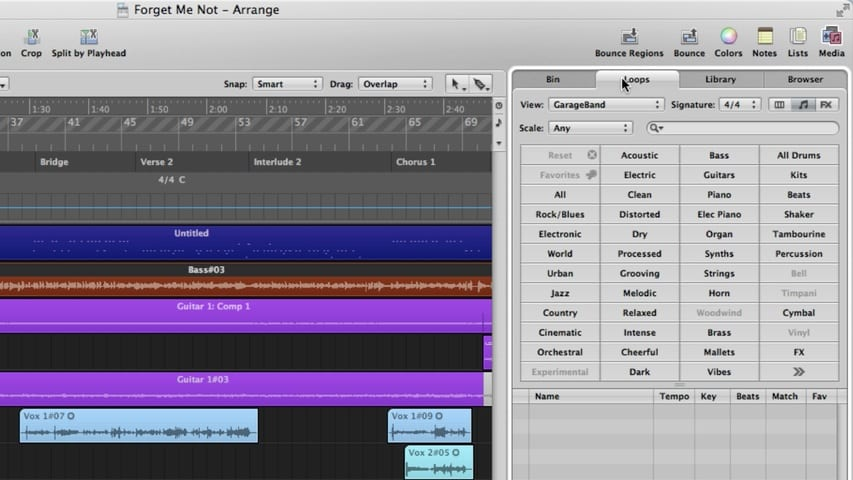 The Logic Pro Arrange Window Part 2 - Media Area Through Track Notes