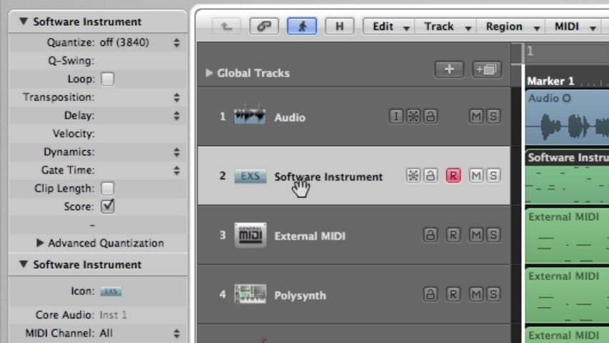 Logic Pro Tracks and Channel Strips Part 1 - Track Header Through Track Parameters