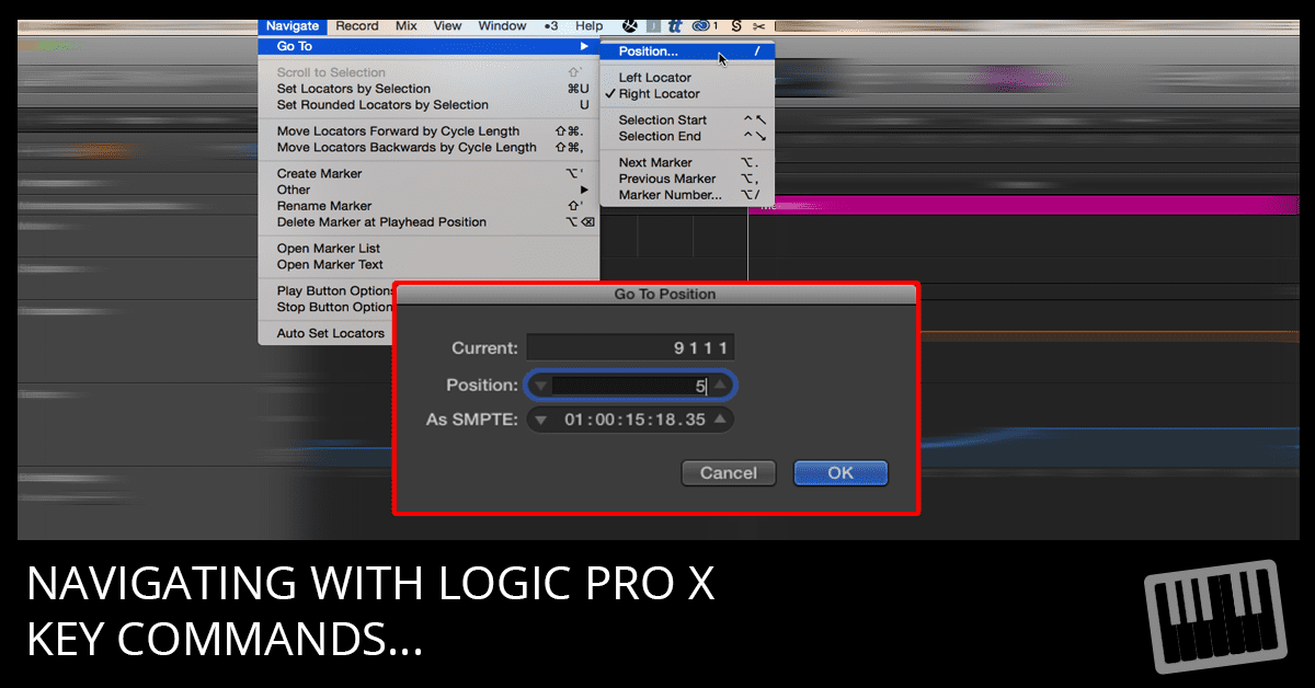 Logic Pro X Arranging and Editing Tip: Go To Position